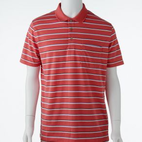 Ansett Blue Horizon Striped Polo - Coral