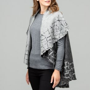 Cobblestone Border Wool Cape - Black/Charcoal Marle
