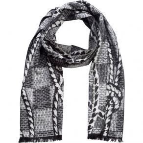 100% Silk Scarf - Black White Rope