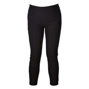 Cotton Ponti Zip Detail 7/8 Pant Black