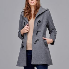 Woollen Hooded Duffle Coat Mid Grey