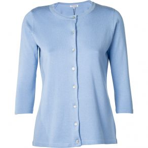 3/4 Sleeve Knit Cardigan Pale Blue