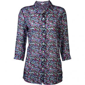 Leopard Blues Cotton Silk Shirt
