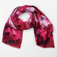 100% Wool Printed Scarf Pink Forest Flowers